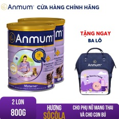 Bộ 02 Sữa bột Anmum Materna hương Sô-cô-la 800g dành riêng cho phụ nữ mang thai và cho con bú Tặng balo cao cấp