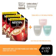 [Tặng bộ 3 ly sứ màu pastel] Combo 3 hộp Nescafé 3in1 cà phê rang xay hòa tan đậm đà hài hòa (20 gói x 17g)