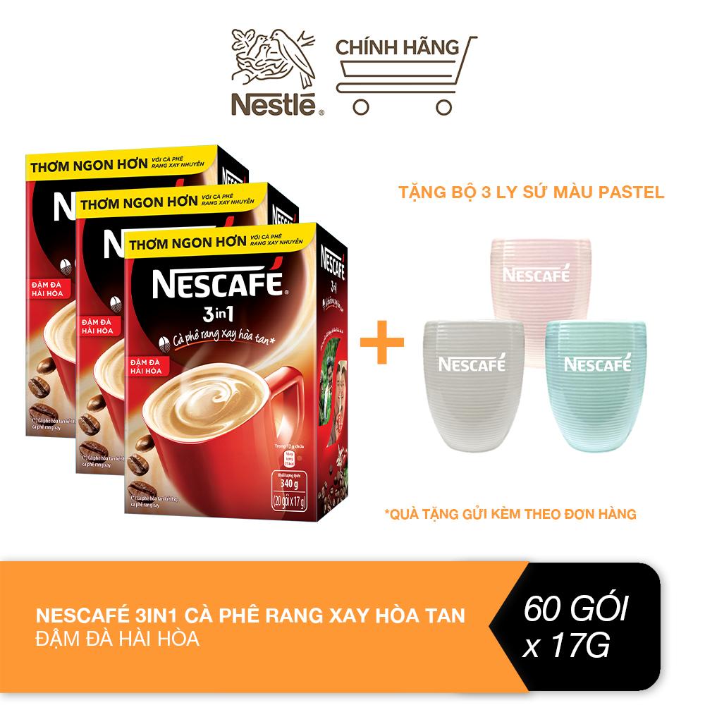 [Tặng bộ 3 ly sứ màu pastel] Combo 3 hộp Nescafé 3in1 cà phê rang xay hòa tan đậm đà...