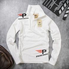 Áo thun nam cổ bẻ dài tay chuẩn phong cách Pigofashion PG09 (Trắng)