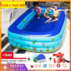 [ XẢ HÀNG 2 NGÀY ] Bể Bơi Trẻ Em Kèm Bơm Điện 180cmx140cmx60cm Hồ Bơi Trong Nhà, bể bơi cho bé Mua Ngay Bể Phao Bơi 3 Tầng Cao Cấp 2021,Chất Liệu Dày Dặn,Kiểu Dáng Đẹp,Độ Bền Cao – BB1m8