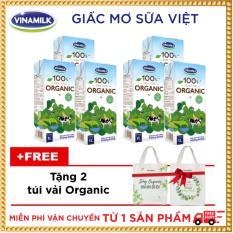 Bộ 6 hộp Sữa tươi Vinamilk 100% Organic 1L_Tặng 2 túi vải Organic