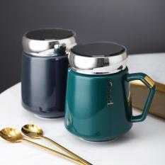 ONEISALL Cốc cà phê có tay cầm và nắp gương, cốc đựng sữa, nước trái cây chất liệu gốm, thể tích 430ml – INTL