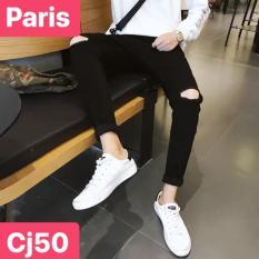 QUẦN JEAN NAM CHẤT BÒ ĐEN RÁCH GỐI PLAZA BITEXCO PR-CJ50 CAO CẤP – PARIS FASHION