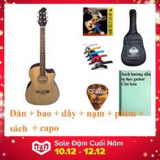 Đàn guitar Acoustic DVE70 + Bao da, capo, phụ kiện Duy Guitar – Shop đàn ghita giá rẻ – Đàn ghita dành cho người mới tập – Ddnf ghi ta đệm hát modern