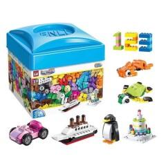 Đồ chơi lắp ráp trẻ em, bộ lego hộp vuông 460 chi tiết bằng nhựa ABS an toàn cho bé