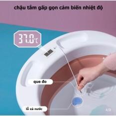 Chậu tắm gấp gọn đo nhiệt độ hồng