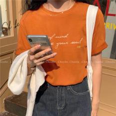 Áo thun nữ Choobe cộc chất vải thoáng mát form suông, phông tay gập in chữ phong cách- màu nâu cam- A19