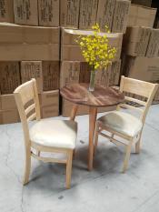 Bộ bàn cafe tròn 600 & ghế cabin tự nhiên ( MH2 )