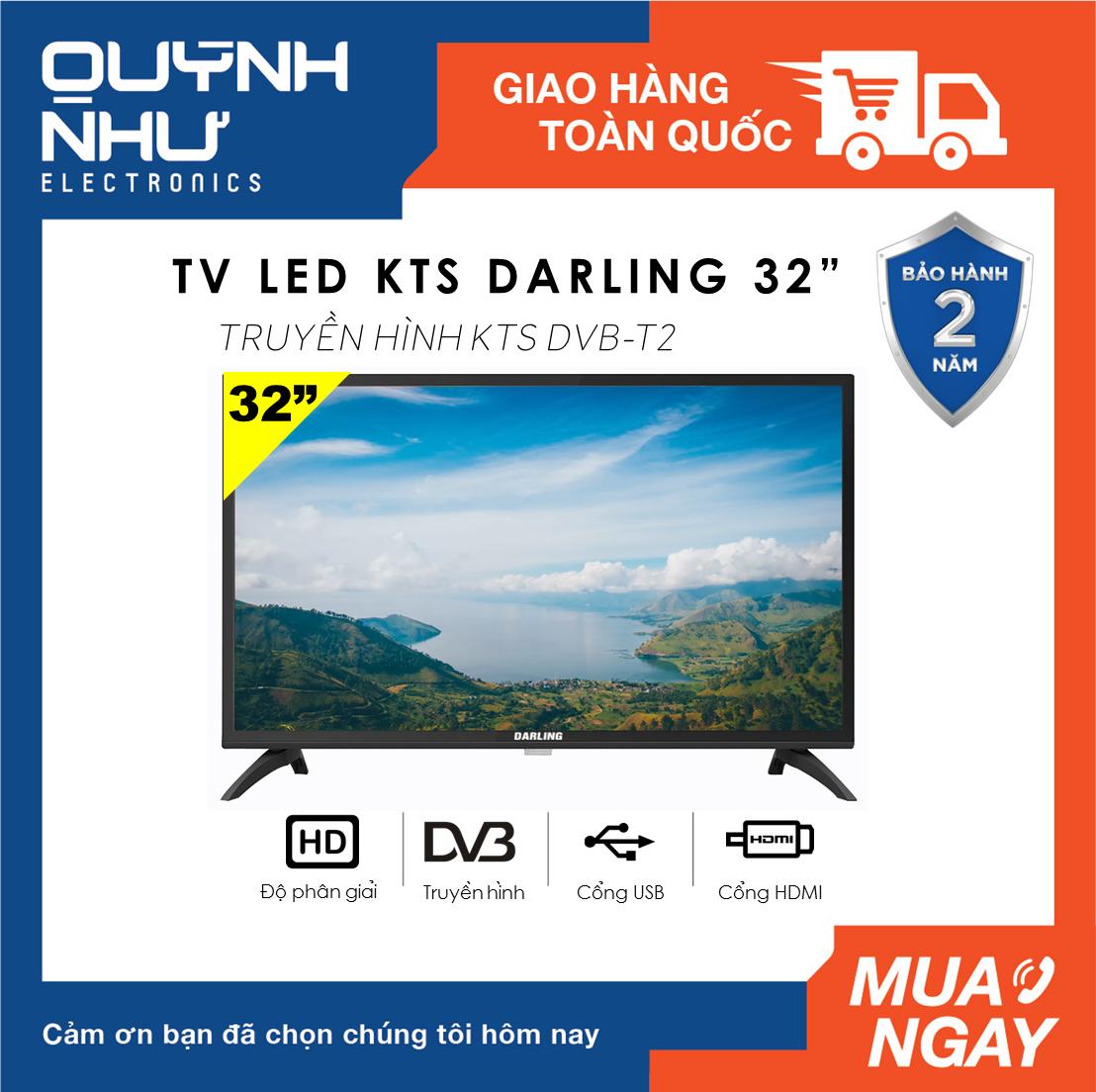 Tivi LED Digital DVB-T2 Darling 32 inch Model 32HD962S2 (HD Ready, Dolby Surround, Truyền hình KTS DVB-T2 / DVB-S2, màu đen) – Tivi giá rẻ – Bảo hành toàn quốc 2 năm