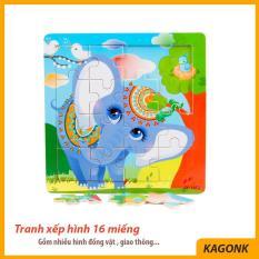 Đồ chơi tranh ghép hình gỗ 16 miếng – hình động vật giao thông chữ cái – Đồ chơi xếp hình Kagonk 281019