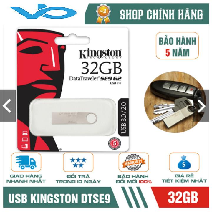 USB Kingston 3.0 DataTraveler SE9 G2 32GB – hợp kim (Bạc)