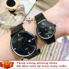 Cặp Đồng hồ đôi nam nữ HALEI dây mành thời thượng có lịch ( HL8024 dây đen mặt đen ) – TẶNG 1 vòng tỳ hưu phong thuỷ