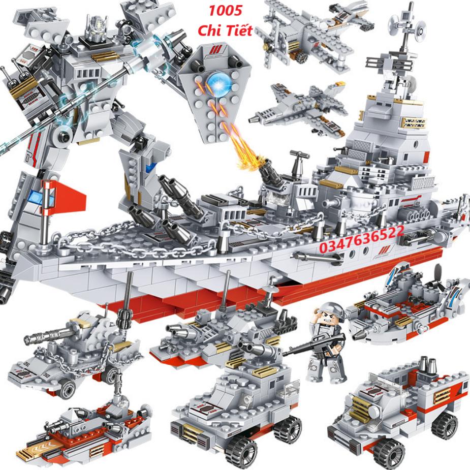 [1005 CHI TIẾT] Bộ Đồ Chơi Xếp Hình Lego Chiến Hạm, Lego ROBOT, Lego Máy Bay, Lego Tàu Sân Bay, Lego Tàu Chiến – Hàng Chuẩn