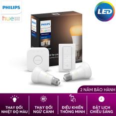 [Trả góp 0%] Bộ 2 Bóng Đèn thông minh Philips Hue White Ambiance Starter Kit 8.5W A60 E27 kèm Bridge và Dimmer