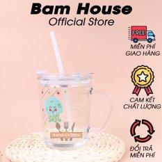 Ly thủy tinh có nắp đậy ron cao su và vạch định lượng Bam House tặng kèm ống hút cao cấp LCS01 – Bam House