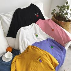 Áo thun tay lỡ freesize nam nữ – thun phông form rộng Unisex, mặc lớp, nhóm, cặp, thêu hình rau củ quả nhiều màu