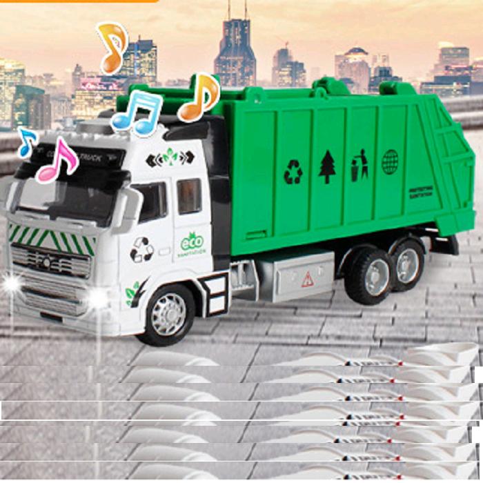 Xe ô tô chở rác chạy cót đồ chơi trẻ em xe phát đèn và âm thanh