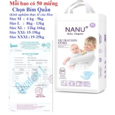 Bỉm quần Nanu baby xuất Nhật 50 miếng đủ size M/L/XL/XXl/XXXl