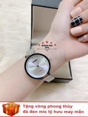 Đồng hồ nữ SKMEI dây kim loại mành thời thượng ( SK1291 dây trắng mặt trắng ) – TẶNG 1 vòng tỳ hưu phong thuỷ