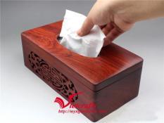 Hộp đựng khăn giấy gỗ hương ta cao cấp lọng 2 bên