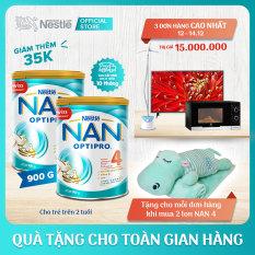 [FREESHIP] Bộ 2 lon Nestle NAN OPTIPRO 4 cho trẻ trên 2 tuổi 900g + Tặng 1 bộ mền gối hà mã