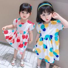 Váy bé gái tay bồng họa tiết quả bóng sắc màu cực xinh
