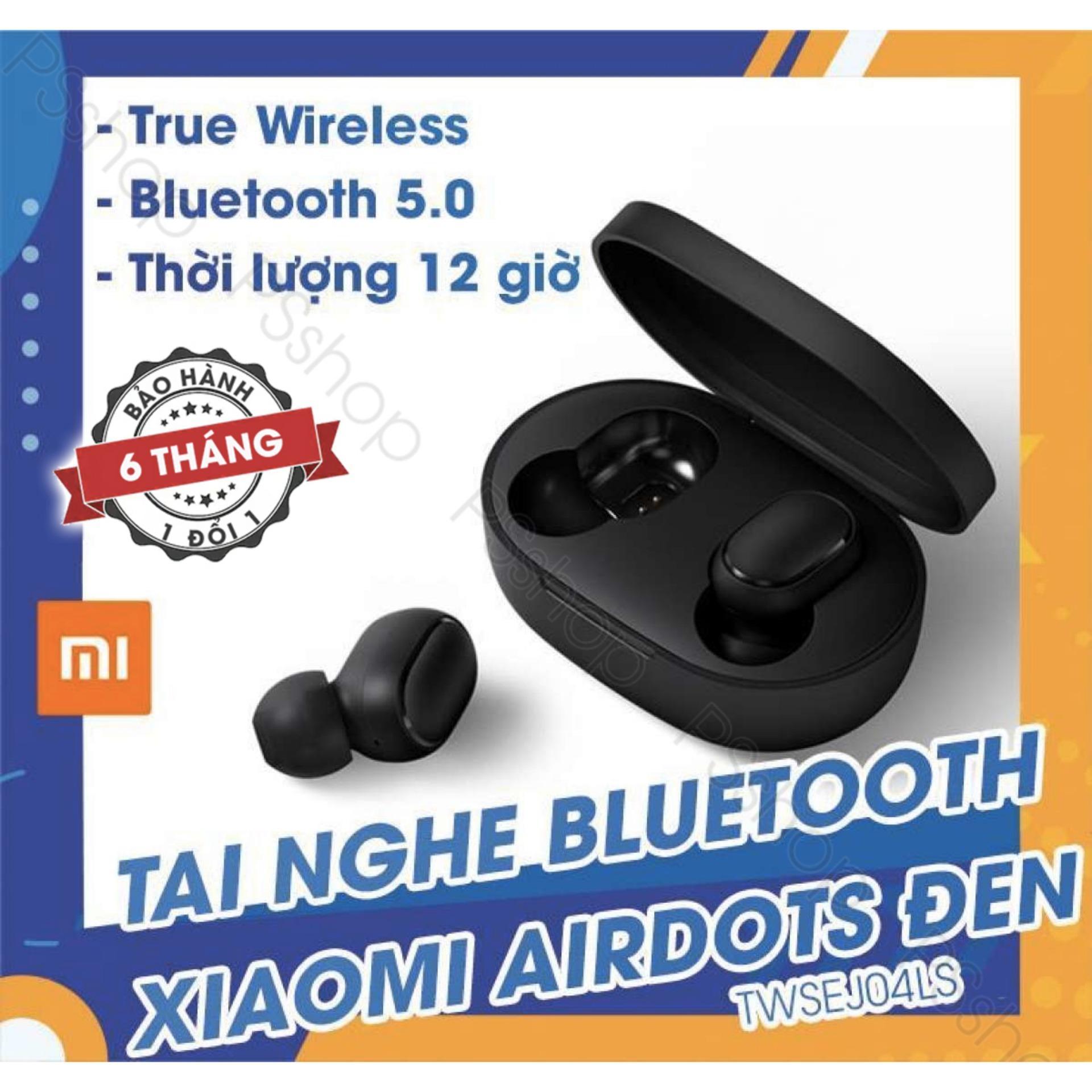 Tai nghe không dây Xiaomi - Redmi Airdots Đen - Bluetooth 5.0, Pin 12 tiếng kèm hộp, Phím vật lý