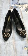 Giày gót vuông khóa V cao 5cm