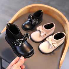 Giày cho bé gái boot bé gái gắn nơ siêu dễ thương đi êm chân phối đồ xinh