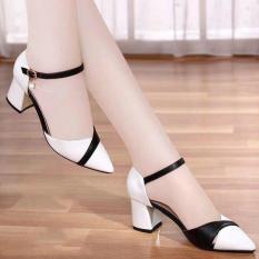 Giày Sandal Nữ Cao Gót 7 Phân Họa Tiết Đan Đen Trắng Đan Chéo