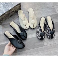 Giày Sục Cánh Bướm Hở Mũi Phối Khuy Tròn Siêu Xinh