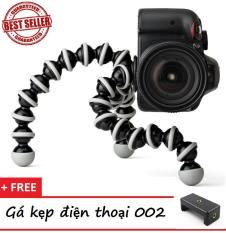 Chân máy ảnh Tripod BẠCH TUỘT loại LỚN 24CM (Trắng Đen) + TẶNG 1 Gá kẹp điện thoại 002