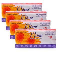 Combo 4 gói Khăn giấy bếp đa dụng Elene gói 100 tờ 2 lớp