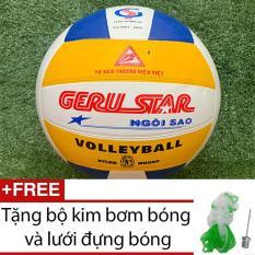 Bóng chuyền số 5 Geru Star tặng kim bơm và lưới đựng bóng
