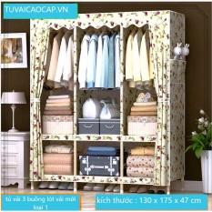 Tủ vải khung gỗ 3 buồng 7 ngăn tủ đựng quần áo khung gỗ cỡ lớn loại 1
