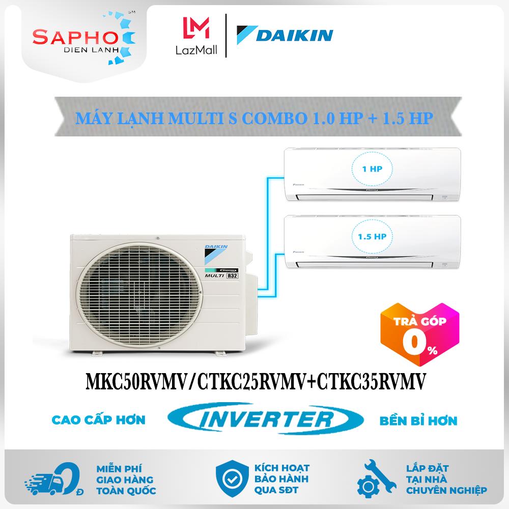 [Free Lắp HCM & HN] Combo 1.0HP + 1.5HP Inverter – Máy Lạnh Multi S Combo 2 Dàn Lạnh Treo Tường MKC50RVMV/CTKC25RVMV+CTKC35RVMV Điều Hòa 1 Chiều Lạnh Chính Hãng Daikin – Điện Máy Sapho