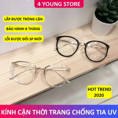 Kính cận thời trang mắt tròn sang trọng phong cách Hàn Quốc mới bảo hành 12 tháng lỗi 1 đổi 1 – Kính không độ Unisex 4 Young Store 019