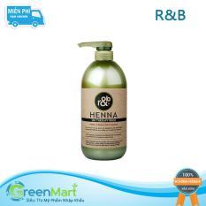 Dầu xả thảo dược cho tóc bóng mềm giảm xơ rối giữ màu tóc nhuộm R&B Henna, Hàn Quốc 1000ml