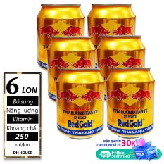 [ ĐỪNG BỎ LỠ ] Combo 6 lon x 250ml nước uống tăng lực Red Gold (Date : 12 tháng) [ Lợi ích, thành phần của nước tăng lực ; cách uống nước tăng lực đúng cách ]