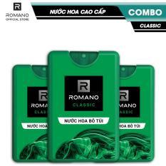 Combo 3 Nước hoa bỏ túi Romano Classic cổ điển lịch lãm 18ml
