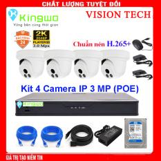 Trọn bộ camera 4 mắt – trọn bộ 4 camera – Bộ KIT 4 camera IP(4 Dome) 3.0MP KingWo [ TÍCH HỢP MIC ] (POE) Có ổ cứng 500G,mắt KIM LOẠI chống nước-Bảo hành 2 năm 1 đổi 1