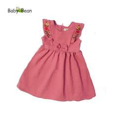 Đầm Đũi thêu Hoa Bèo Dọc bé gái BabyBean