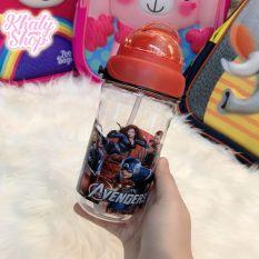 Bình nước có ống hút và dây đeo hình nhân vật Kitty, Frozen, Pony, Spiderman, Avengers cho trẻ em, bé trai, bé gái – 420ml – 3685