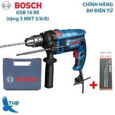 Máy khoan động lực Máy khoan tường Bosch GSB 16 RE tặng 3 mũi khoan tường công suất 750W Bảo hành 12 tháng