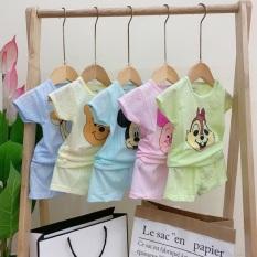 Bộ cộc tay mùa hè cho bé trai bé gái sơ sinh 3-12kg nhiều màu với chất liệu vải thông hơi cotton 100% mặc mát mềm mại thấm hút mồ hôi