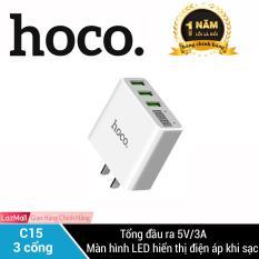 Cốc sạc HOCO C15 SẠC NHANH 3.0A có đèn Led thông minh báo sạc, 3 CỔNG SẠC THÔNG MINH iPhone/iPad/Samsung/Huawei