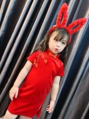 Váy sườn xám nhung đỏ siêu yêu cho bé gái đón noel, đón Tết