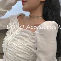 Vòng cổ choker bản trong suốt phối kim tuyến lấp lánh phong cách Hàn Quốc