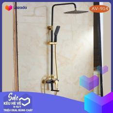 Bộ sen cây tắm đứng nóng lạnh nhập khẩu AV914 ( Đen vàng ) sơn tĩnh điện cao cấp – Tiêu chuẩn Châu Âu- Gia dụng Phú Gia